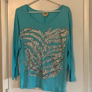 Ariat Brnd Turquoise shirt with sequins sz Large